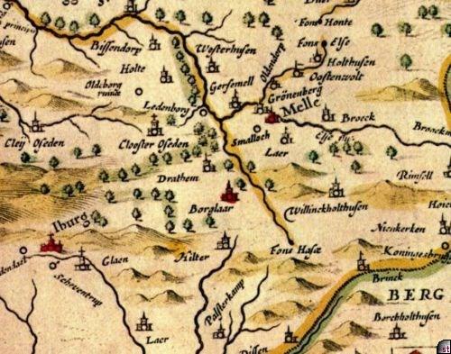 alte landkarte Kloster Oesede   Alte Karten alte landkarte